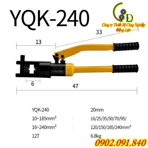 kìm ép cos thủy lực YQK-240 hay còn gọi là kềm bấm cosse thủy lực hoặc kiềm bóp cốt là dụng cụ chuyên dụng trong thi công điện công nghiệp chuyên để ép các loại đầu cos dây điện có kích thước lớn do công ty Động Lực phân phối báo giá tốt nhất