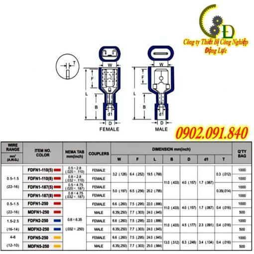 Đầu cos đực cái, cosse ghim âm dương, cốt nối dây điện bình ắc quy bằng đồng thau bọc phủ nhựa do công ty Dongluchp phân phối với giá tốt, giao hàng nhanh, uy tín, tiện lợi.