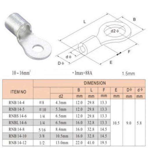 Đầu cos tròn trần RNB 14-6 bằng đồng thau do công ty động lực sản xuất và phân phối cam kết báo giá tốt nhất trên thị trường hiện nay
