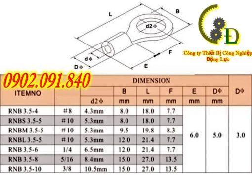 đầu cos tròn trần RNB 3.5-5 bằng đồng mạ thiếc chống gỉ do công ty động lực sản xuất và phân phối trên toàn quốc cam kết luôn có bảng báo giá tất cả các loại đầu cos tốt nhất