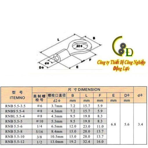 đầu cos tròn trần RNB 5.5-8 được chế tạo từ đồng thau do công ty động lực sản xuất và phân phối trên toàn quốc cam kết bảng báo giá tốt nhất