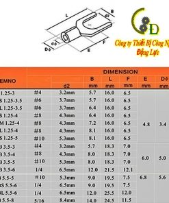 Bảng thông số kỹ thuật đầu cos chữ y trần SNB chi tiết do công ty dongluchp cung cấp