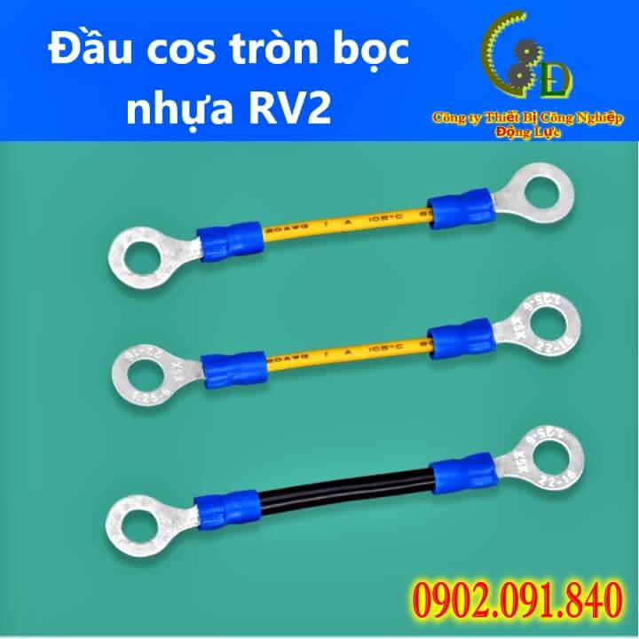 Đầu cos tròn bọc nhựa RV2 chất liệu đồng thau bọc phủ nhựa cách điện chịu nhiệt do công ty động lực phân phối với bảng báo giá rẻ nhất thị trường