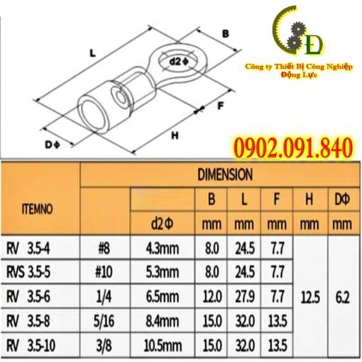 Đầu cos tròn phủ nhựa RV3 dùng cho dây cáp điện từ 2.5mm đến 4mm chế tạo từ đồng thau mạ thiếc do công ty động lực nhập khẩu chính hãng và phân phối với giá rẻ nhất