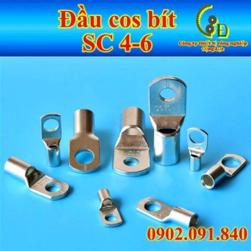 Đầu cốt bít SC 4mm một loại cosse trần bằng đồng thau mạ thiếc dùng đấu nối dây cáp điện với thiết bị điện khác, sử dụng nhiều trong đấu tủ điện